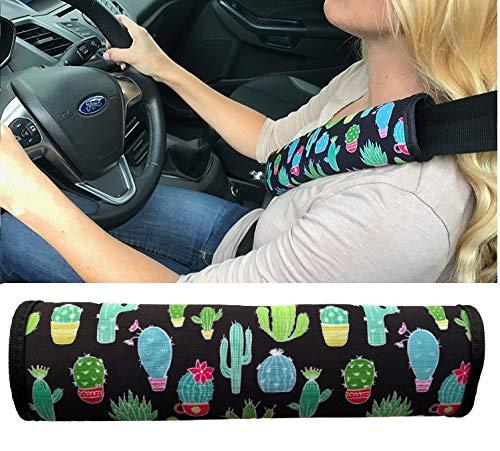 1x Auto correa Protección de cinturón de seguridad hombro hombro Cojín asientos de coche Cinturón acolchado para niños y adultos (Cactus diseño)–de heckbo