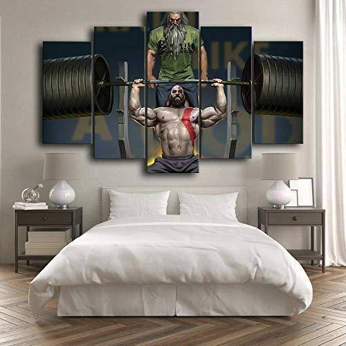 CGHBDOP Modern Artwork HD Cuadro sobre Lienzo 5 Piezas Impresión Kratos Levantamiento...