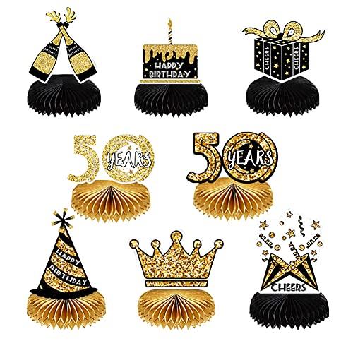 Decoraciones de Cumpleaños, 8 Piezas Centros de Mesa de Panal de 50 cumpleaños, para Decoración de Mesa para 50 Cumpleaños, Fiestas de Cumpleaños