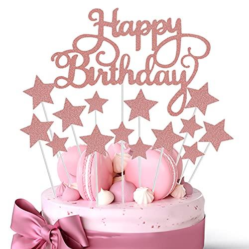 JIASHA Happy Birthday Cake Topper(2 Pezzi)+ Star Cupcake Toppers (14 Pezzi)per Matrimonio Compleanno Baby Shower Party Decorazioni per Torte di San Valentino (Or Rose)