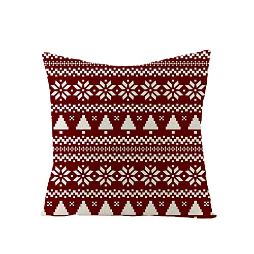 Chloefairy Cushion Covers Decoration Christmas Christmas Pillow Cover Cotton Linen Decor Pillowcase Sofa Bed 45x45cm (R, 45 * 45cm)