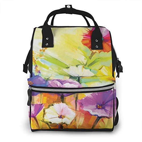 Nappy Changing Bag Backpack, Large Diaper Bags Wild Flower Spring Aura Gerbera Multi-Function Waterproof Maternity Nappy Back Pack for Baby Care Mom Dad Travel