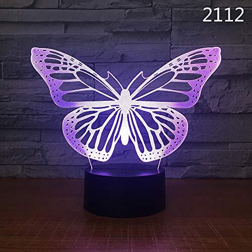 EgBert 3D Kawaii Kreative Schmetterling LED Nachtlicht Touch Tisch Schreibtisch Lampen 7 Farbwechsel Illusion Lichter mit Acryl Flache ABS Basis USB Ladegerät für Kinder Geschenk [Energieklasse A +++]