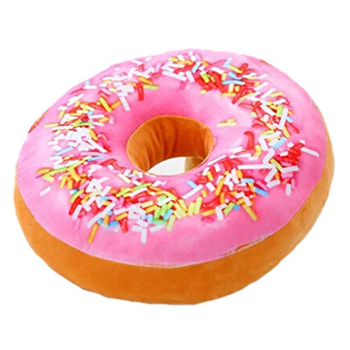 Nunubee - Cuscino decorativo Donuts in polipropilene e cotone per divano imbottitura in gommapiuma Rosa