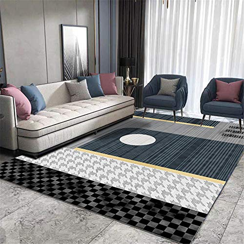 WQ-BBB Rug Dosen'T Shed super soft Coffee Table Carpet Black gray blue yellow geometric slip rubbery underlay bedroom carpets no allergies Carpets 160X230cm