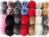 Cieovo 28 Pieces Faux Fur Pom Poms and Rabbit Fur Pompoms Balls with Elastic Loop for Knitting Hats Clothes Keychains Hat Shoes Cellphones Accessories Colorful Decorative DIY Balls