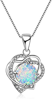 Yuanhua Silver Necklace, Opal Jewellery For Women Girl Statement Necklace Birthday Gift