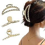 Heiqlay fermagli per capelli in metallo pinze per capelli grandi mollette per capelli donna eleganti presa capelli, fermaglio per capelli perla, diamante fermaglio per capelli, 11,5x4,5 cm, 3 pezzi