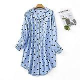 Misscoo Damen-Baumwoll-Nachthemd, Langarm-Nachthemd, durchgehend geknöpft, Flanell-Nachthemd (fünf Größen) Gr. 42, blau