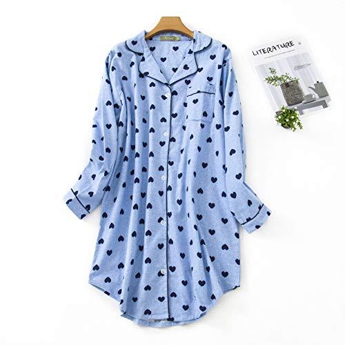 Misscoo Damen-Baumwoll-Nachthemd, Langarm-Nachthemd, durchgehend geknöpft, Flanell-Nachthemd (fünf Größen) Gr. 36, blau