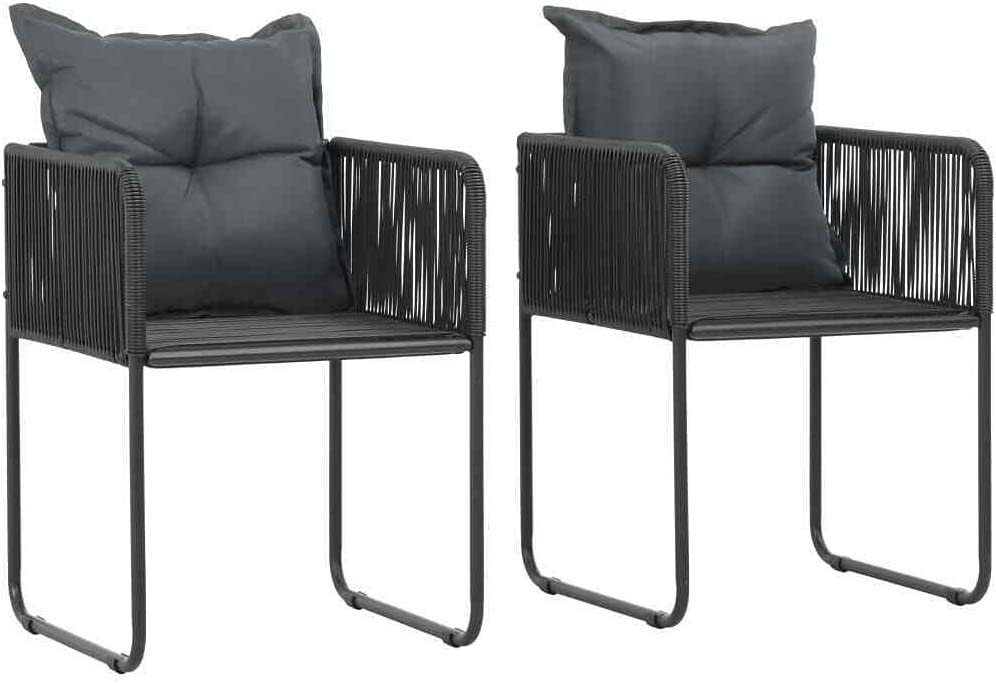 Outdoor Chairs 2 pcs with Long Beach Mall Rattan Outlet ☆ Free Shipping Black Pillows Patio-Dining-Cha