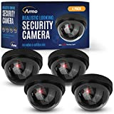(4 Pack) Fake Security Surveillance Camera Fake CCTV Dome Camera with Realistic Look Red LED Light Indoor and Outdoor Use, Decoy Camera for Home & Business - by Armo