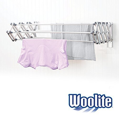 Woolite Aluminum 36' Collapsible Wall Mounted Clothes Drying Rack, Space Saver, Easy Storage, Retractable, Silver