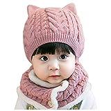 FENGLI Baby Girls Boys Winter Beanie Hat Sombrero Set Diño Sombreros de Punto cálido Sombreros Círculo Bufanda Set (Color : Pink)