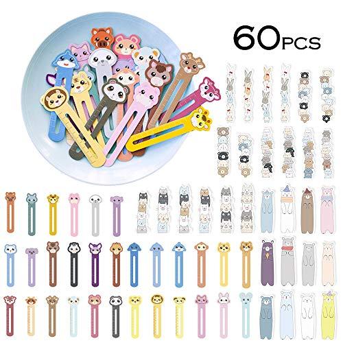 Segnalibri animali svegli per bambini Bambini Ragazzi ragazze, novità divertenti Righello segnalibro per studenti (60 pezzi)