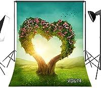 HD 7x10ftバレンタインデーの写真の背景愛の花ツリー草原春の写真の背景の小道具メーカーカスタマイズVD674