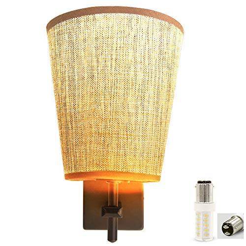 Facon LED RV Fabric Light Fixture with Flared Wall Sconce Shade, Wall Mount LED Decor Lamp Bedside Reading Light with Switch, 12V DC Interior Light for RV Motorhome Camper Trailer (Round Wall Sconce)