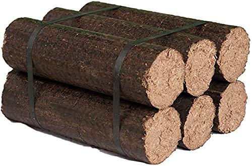 Bois de Chauffage Compressé bois dur 70%   anas de lin 30% - 10 kg - Fabriqué en Picardie - Filière locale française