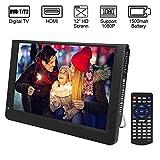 Diyeeni 12 Pouces Téléviseur TFT LED Portable pour Voiture Camping Camion, TV Tuner Numérique HD DVB-T/T2 Téléviseurs Analogique Support ATV/UHF/VHF, avec VGA AV HDMI USB Input SD/MMC Card Slot