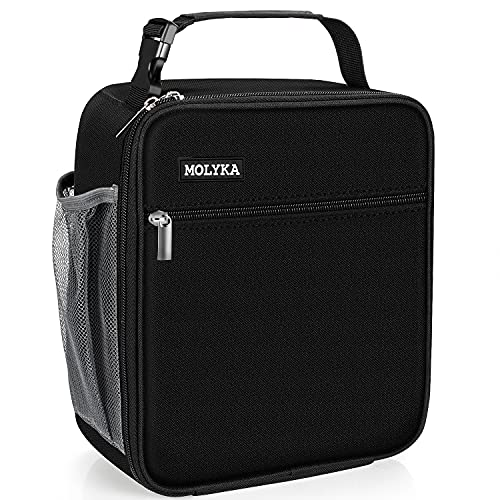 MOLYKA Lunch Bag - Insulated Lunch Box Durable Reusable Lunch Bag Adult Tote Bag for Men, Adults, Women (Black)