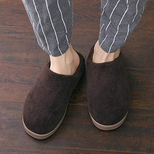 SWX-FlipFlop Zapatillas de algodón cálidas para el hogar Pareja Simple hogar Grueso Interior cálido para Hombres marrón 44/45 (Adecuado para 43/44 pies)