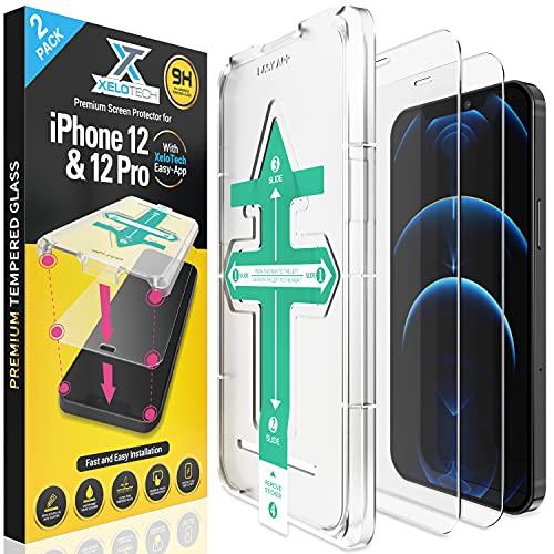 XeloTech 2X Full Screen Schutzglas für iPhone 12 & 12 PRO (6.1'), Komplett aus Panzerglas, Installation in 30 Sekunden mit Easy-Schablone, Panzerglasfolie, Displayschutzfolie, Panzerfolie