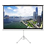 MPLUS 100' Diagonal 16:9 HD Manual Pull Down Projector Screen with Tripod Stand Auto Lock Mechanism Wall Mounted Ceiling Projection Screen Pull Down HD Movie Screen Home Theater