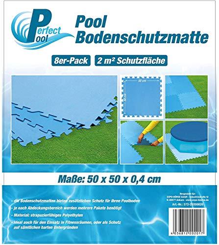 Perfect Pool Poolmatte Pool Bodenschutzmatte Fitnessmatte 8er Pack (50 x 50 cm in Blau)