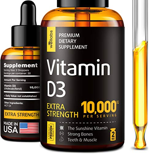 Vitamin D3 Drops - Extra Strength Vitamin D3 10000 IU - Made in The USA - High Dose Vitamin D3 - Premium & Natural Vitamin D3 - The Sunshine D3 Vitamin Supplement - Organic & Raw Vitamin D