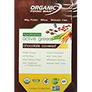 Organic Food Bar - Active Greens Probiotic Chocolate Covered Bars, USDA Organic Active Greens Bar with Superfood Blend with Powerful Antioxidants (Pack of 12)