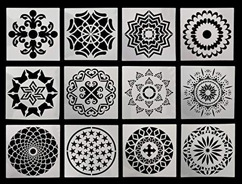 BaiJ Mandala Schablone,12 Stück Mandalas Schablonen für Malerei Holz Wand Möbel Bodenfliesen Stein Felsmalerei Template,Wiederverwendbare Kinder Stencils für DIY Airbrush Malen