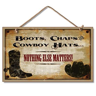 Rustic Western Cowboy Hat Sign Boot Country Wall Decor Plaque