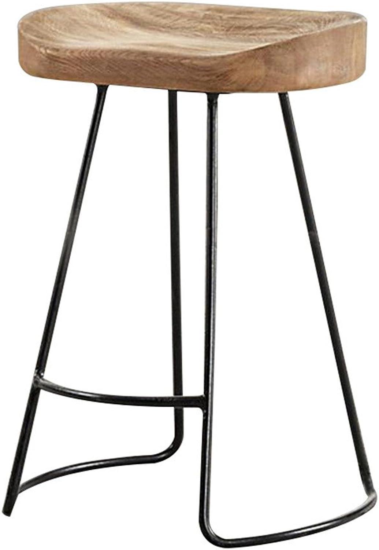 Bar Stool high Stool Chair, Pine Wood Paint American Retro, 65   75cm (Size   75CM)