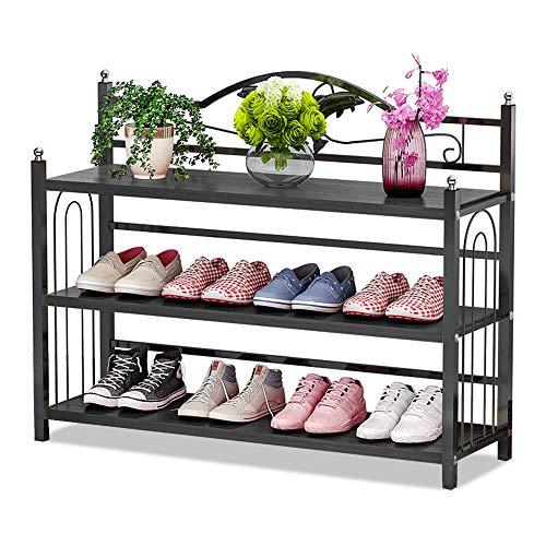 IBEQUEM Zapatero con 3 estantes, color plateado y gris, metal, zapatero, organizador de zapatos, para salón, vestidor, 81 x 56 x 24 cm (nogal negro)