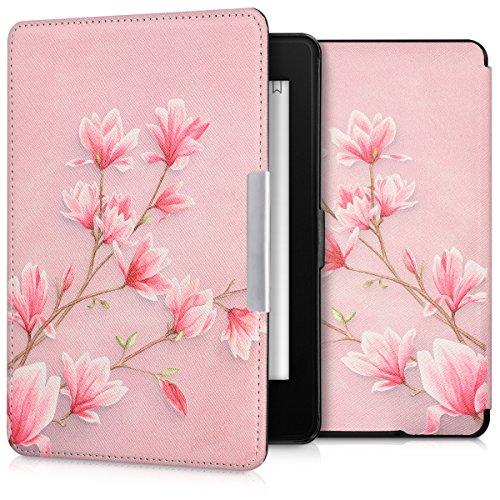 kwmobile Hülle kompatibel mit Amazon Kindle Paperwhite - Kunstleder eReader Schutzhülle Cover Case (für Modelle bis 2017) - Magnolien Rosa Weiß Altrosa