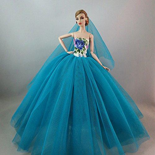 Faironly Elegantes Abendkleid mit großem Schwanz, Hochzeitskleid, edles Partykleid für Puppen...