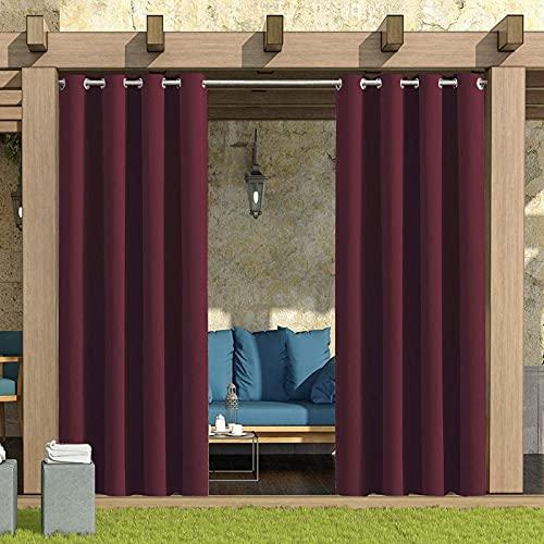 QINZC Cortinas De Exterior Impermeable ProteccióN UV Aislamiento TéRmico,1 Panel Cortinas Opacas Resistente Al Viento para El Porche Delantero PéRgola CabañA,Rojo,W52x84in/132x213cm