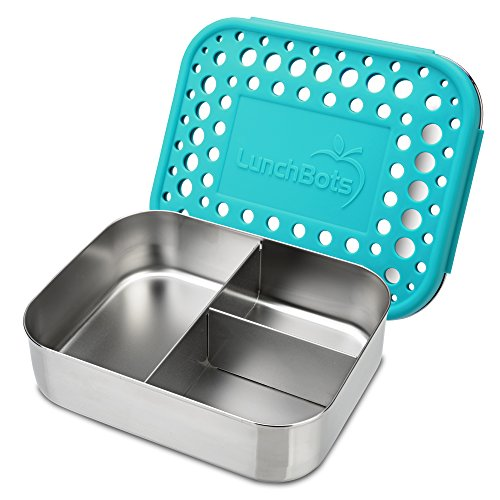 LunchBots Trio 2 Edelstahl Nahrungsmittelbehälter – Drei Abschnitt Design, perfekt für gesunde Snacks, beilagen oder Finger Foods – Umweltfreundlich, Spülmaschinenfest und BPA frei – Aqua Gepunktet
