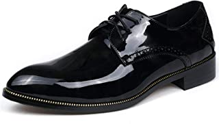 shangruiqi Men's Business Oxford Casual Light Breathable with British Style Patent Leather Formal Shoes Abrasion Resistant