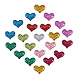 LiQunSweet 200 Pcs Resin Flatback Slime Charms No Hole Cabochons with Glitter Powder Sweet Heart Mixed Color for Scrapbooking Embellishments Christmas Decoration - 16.5x21.5mm