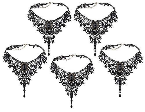 MUCHEN-SHOP Gothic Halskette,5 Pack Spitze Gothic Kette Halsreife Tattoo Choker Gothic Lolita Anhänger für Damen Mädchen Frauen Hochzeit Geburtstag Halloween Weihnachten Custume Schwarz