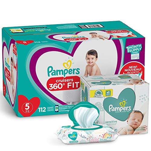 Pampers Pull On Diapers Size 5 - Cruisers 360° Fit Disposable Baby Diapers with Stretchy Waistband, 112 Count ONE MONTH SUPPLY with Baby Wipes Sensitive 6X Pop-Top Packs, 336 Count