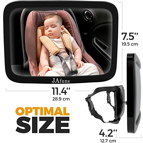Baby Backseat Mirror for Car - Safely Monitor View Infant in Rear Facing Car Seat - 100% Lifetime Satisfaction Guarantee, Wide Convex Shatterproof Glass- Best Newborn Safety With Secure Headrest Doubl