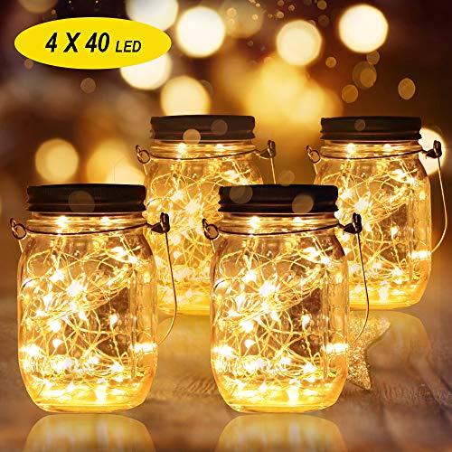 4 Stück Solarlampen Außen | 40er LED Solar Licht Einmachglas für Garten | Solarglas Lichterkette Leuchten Garten Laternen Solarleuchten Wasserdichte Hängeleuchten Gartendeko für Party, Hochzeit, Baum