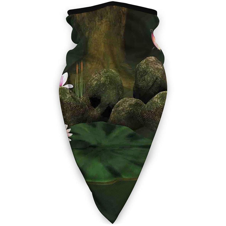 作詞家外交官かんがいDustproof Washable Reusable Mouth Cover,Mystical Secret Place Deep Dark in Forest with Butterflies and Flowers Zen Image,Protective Safety Warm Windproof Mask for Men Women