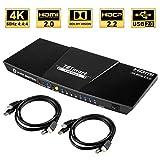 TESmart 4x1 HDMI KVM Switch HDMI 4K 3840x2160@60Hz 4:4:4 mit