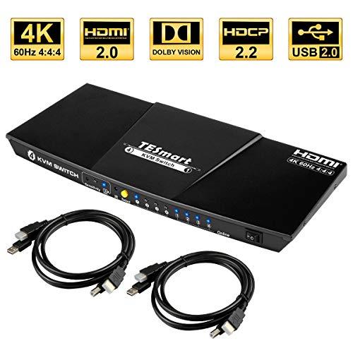 TESmart 4x1 HDMI KVM Switch HDMI 4K 3840x2160@60Hz 4:4:4 mit 2 Stück 5ft/1,5m KVM Kabeln unterstützt USB 2.0 Geräte Steuerung von bis zu 4 Computern/Servern/DVRs (Schwarz)