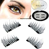 Ochine Magnetic Fake Eyelashes 1 Pair 4 Pieces False Mink Eyelashes 3D for Natural Look Reusable Best Fake Lashes