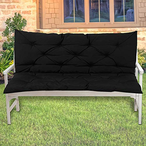LINGRUI Coussin imperméable pour banc de jardin - Pour balancelle 2 places ou canapé de jardin - 100 x 50 x 10 cm - Doux et antidérapant - Noir