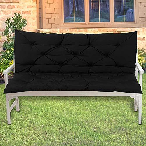 Lingrui Coussin imperméable pour banc de jardin extérieur Tapis de chaise longue pour balancelle 2 places ou canapé de jardin, 100 x 50 x 10 cm, doux et long tapis antidérapant Noir